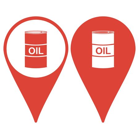 shareholding: Map pointer with barrels of oil icon