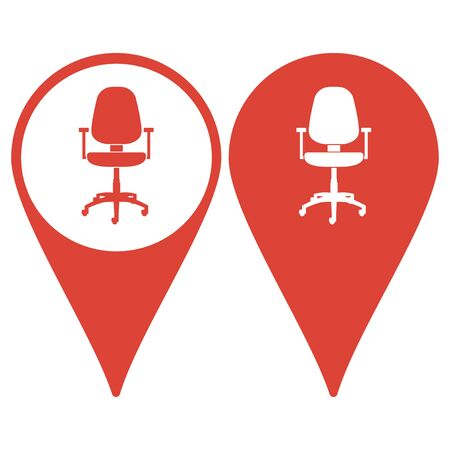 ergonomic: Map pointer with an Office chair icon Illustration