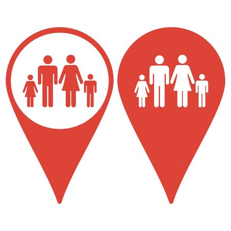 matrimonial: Map pointer with family icon Illustration