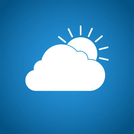 rooster and morning sun: sun cloud icon. Flat design style eps 10