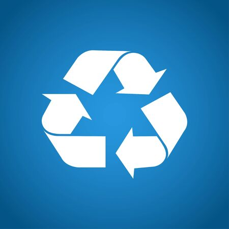 recycle: Recycle sign in white color - isolated. EPS