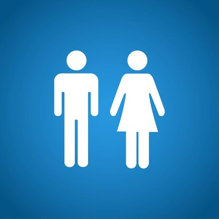 toilet sign: Vector man and woman icons, toilet sign, restroom icon, minimal style, pictogram