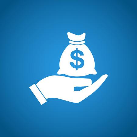 efectivo: Signo seguro de dinero. La mano sostiene bolsa de dinero en efectivo en el s�mbolo de d�lares. Modern sitio web UI de navegaci�n.