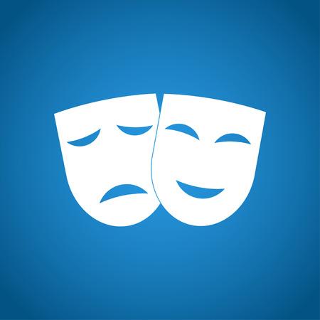 teatro: Icono de teatro con máscaras felices y tristes. Ilustración del vector.