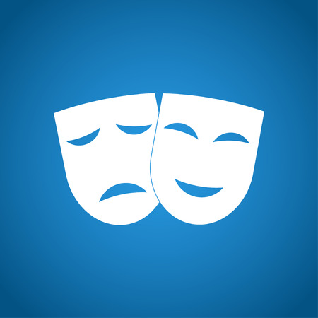 theatre mask: Theater icon with happy and sad masks. VECTOR illustration.