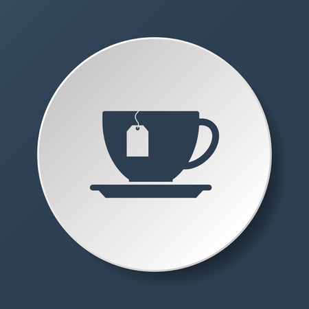 teaparty: cup with tea bag . Flat design style