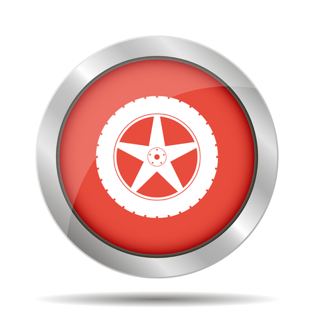 detail: car wheel vector icon. Flat design style