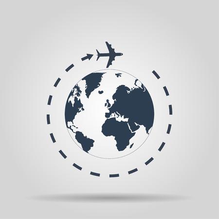 Globe en vliegtuig reizen icoon. Vector
