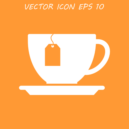 flavorful: cup with tea bag . Flat design style  Illustration