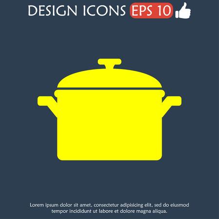 saucepan: Saucepan icon. Flat design style eps 10 Illustration