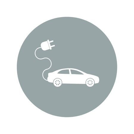 plugin: electric car icon. Flat design style eps 10