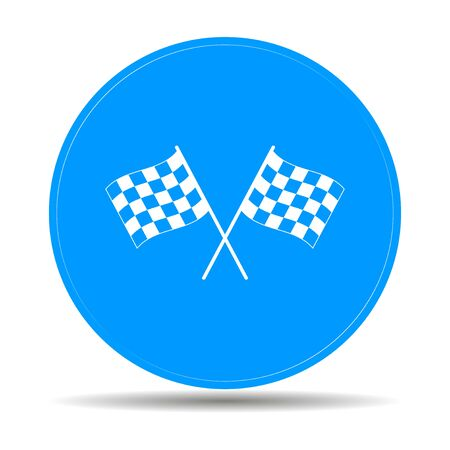 two crossed checkered flags: racing flag icon. Flat design style