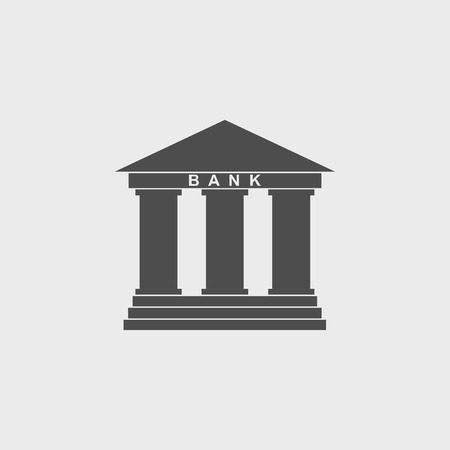 roman column: Bank icon in flat style with the building facade with three pillars illustration