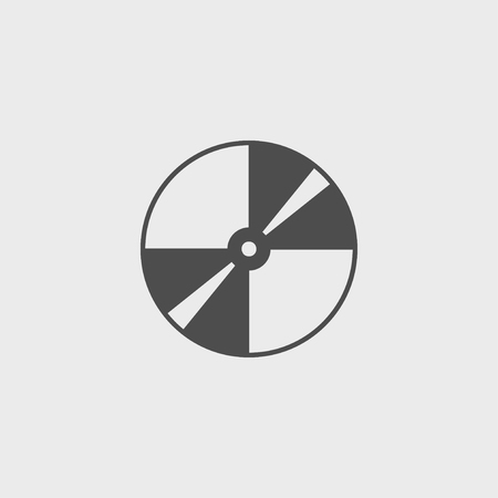 optical disk: Vector CD or DVD icon. Flat design style