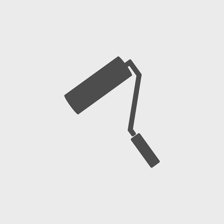redecorate: Paint roller icon. Flat design style  Illustration