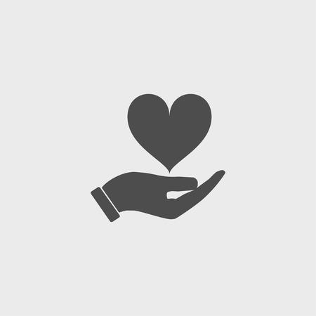 벡터 아이콘 - 손을 잡고 심장입니다. 플랫 디자인 스타일