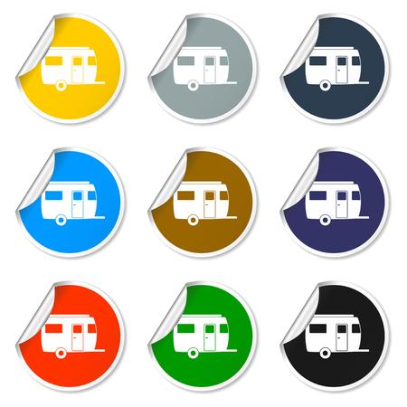 camping trailer vector icon Design   Illustration