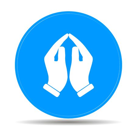 Praying hands icon, vector illustration. Flat design style Çizim