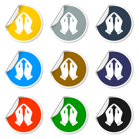 praise and worship: Praying hands icon, vector illustration. Flat design style Illustration