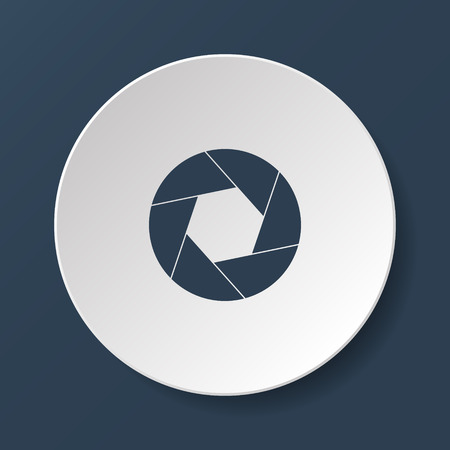 and aperture: aperture icon. Flat design style