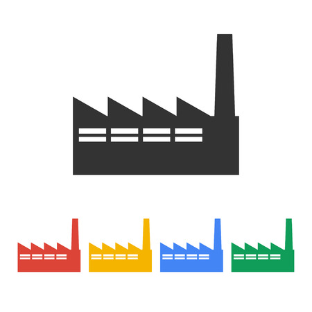 heavy industry: icon of factory. Flat design style