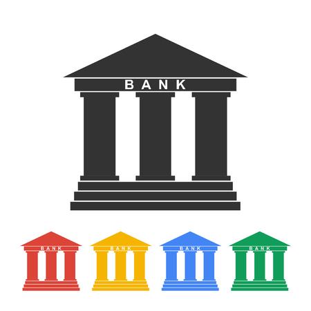 derecho romano: Icono de la bater�a en el estilo plano con la fachada del edificio con tres pilares ilustraci�n