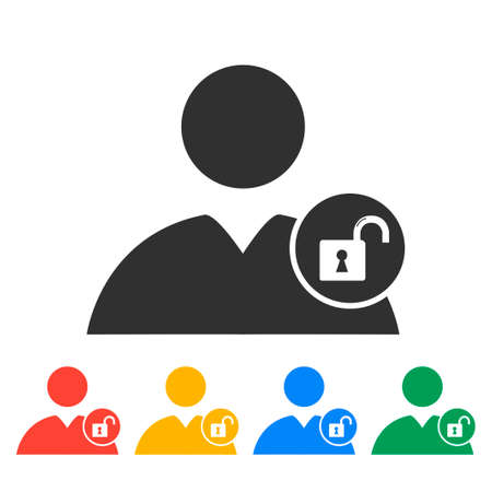 user icon: User icon, lock icon.  Flat design style   Illustration
