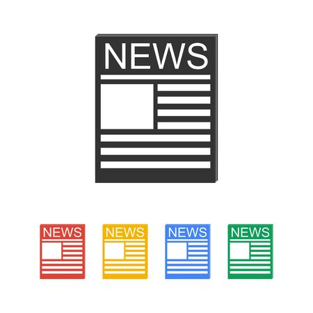 newsprint: Flat  icon of news. Flat design style