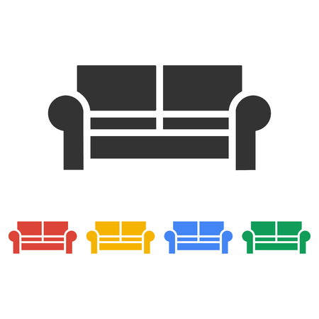 sofa set: Comfortable sofa Icons. Flat design style