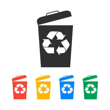 botes de basura: Icono de papelera, ilustración vectorial plana Vectores