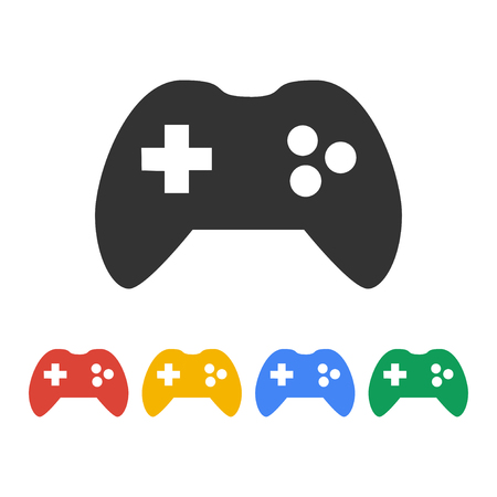 Game controller icon. Flat design style