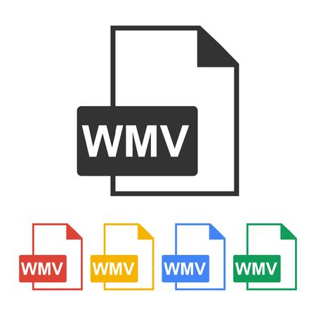 wmv: wmv file icon. Flat design style   Illustration