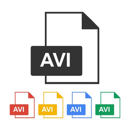 avi file icon. Flat design style