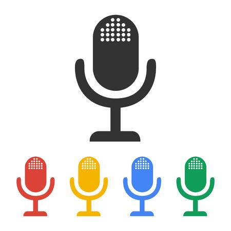 entertaining presentation: microphone web icon, flat design vector   Illustration