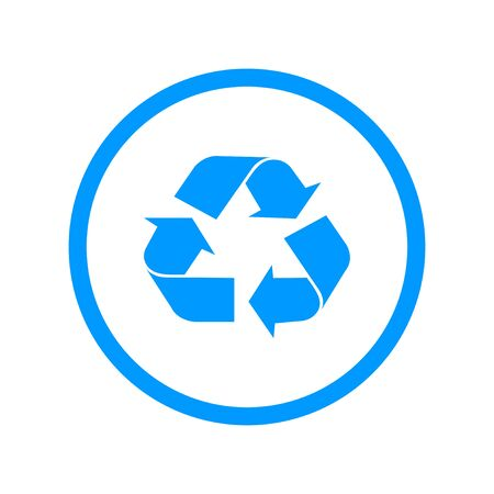 recycle sign: Recycle sign in white color - isolated. Illustration