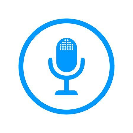 microphone web icon, flat design Illustration