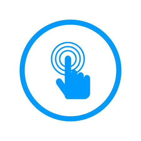 pointing hand: Sign emblem vector illustration. Hand with touching a button or pointing finger