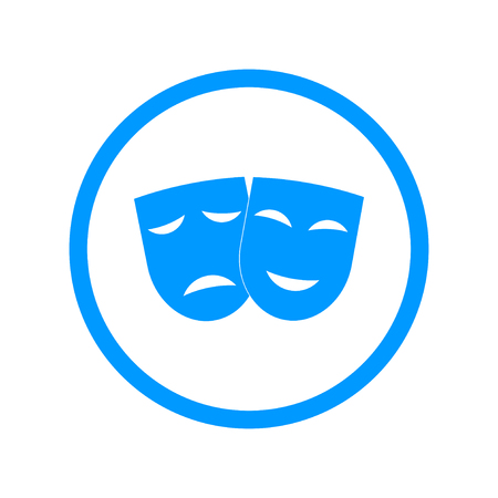 theatre: Theater icon with happy and sad masks. VECTOR illustration.