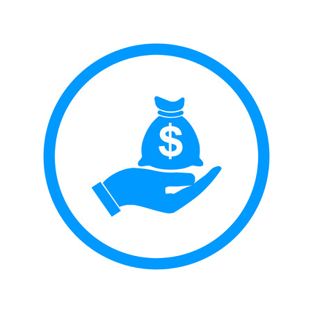 cash icon: Money insurance sign. Hand holds cash bag in Dollars symbol. Modern UI website navigation. Illustration