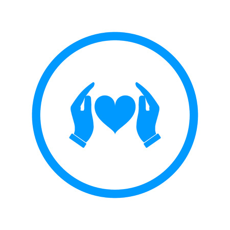 red hand: Vector icon - hands holding heart. Flat design style