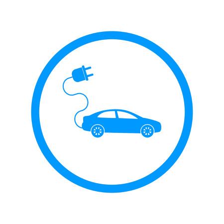電気車のアイコン。フラットなデザイン スタイル