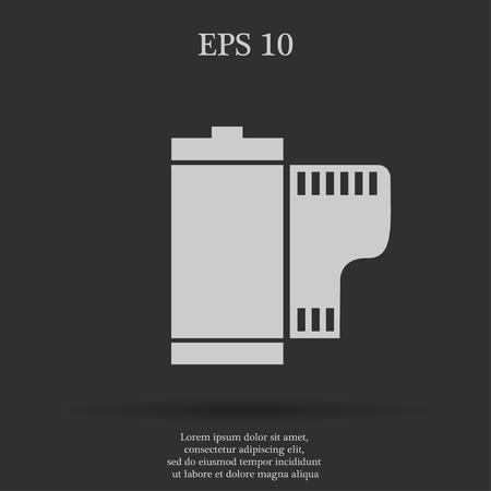 rollo pelicula: Cámara plana del carrete de película. Vector EPS 10 Vectores
