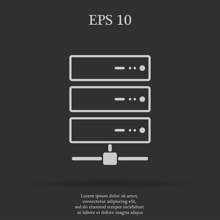 webhosting: Computer Server icon, flat design. Vector EPS 10