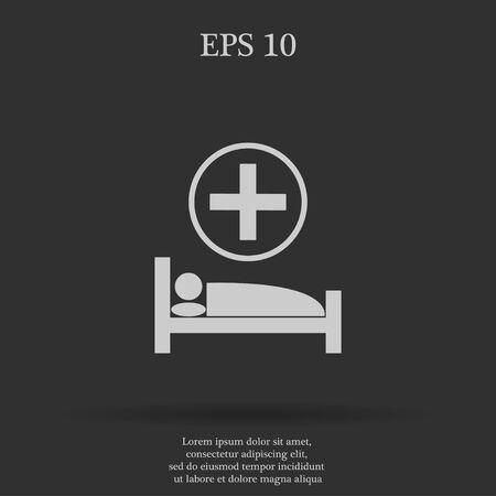 cama hospital: hospital bed, Vector flat Illustration EPS 10