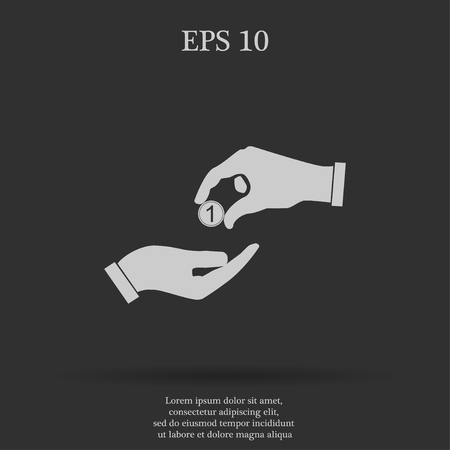 alms: Flat icon, give alms,  Illustration EPS 10