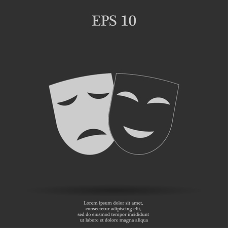 moods: Theater icon with happy and sad masks. VECTOR illustration.