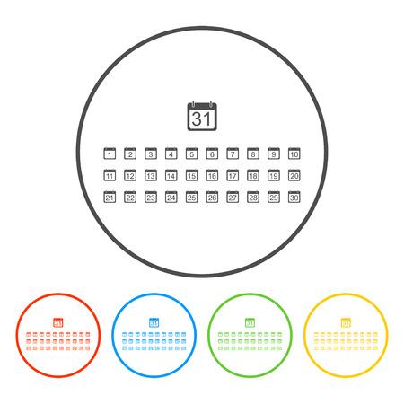 cronologia: Icono de calendario vector plana. EPS estilo Dise�o Vectores