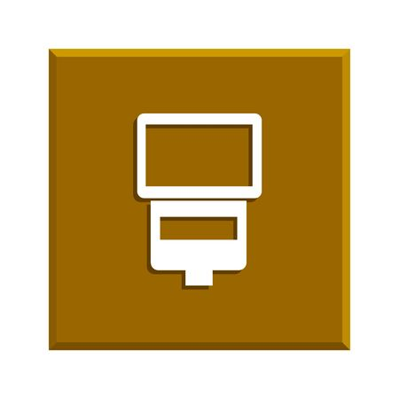 camera with flash: camera flash vector isolated. Flat design style