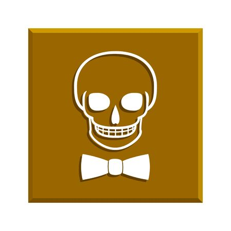 cross ties: Skull icon isolated, tie. Flat design style eps 10 Illustration