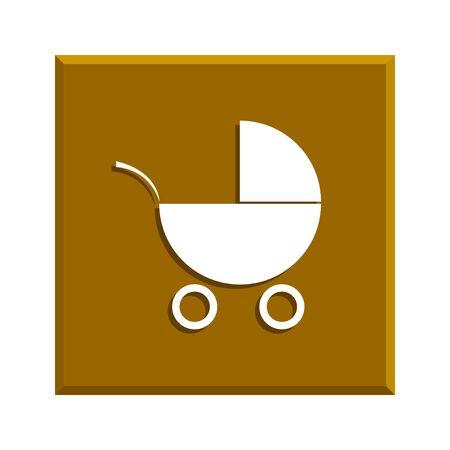 pram: Pram icon. Flat design style eps 10